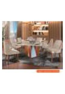 Conjunto De Mesa De Jantar Belíssima Com 8 Cadeiras Esmeralda Linho Off White E Bege
