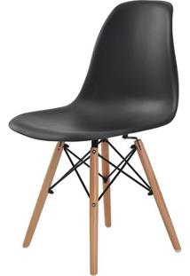 Cadeira Eames Eiffel Polipropileno Preto Base Madeira - 44161 - Sun House