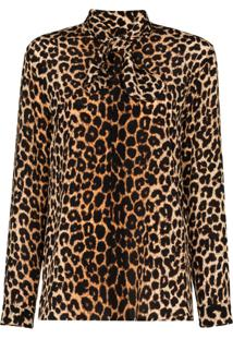Saint Laurent Blusa Com Estampa De Leopardo - Preto