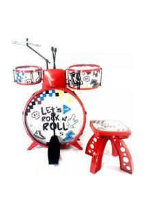 Bateria Acústica Infantil Musical Com Banquinho - Show - Toyng