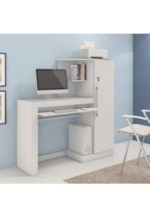 Escrivaninha Com Armário 1 Porta Com Chave Aroeira Jcm Móveis Branco