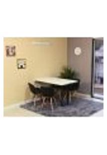 Conjunto De Mesa Dobrável Retrátil 120 X 75 Branca + 4 Cadeiras Slim - Preta