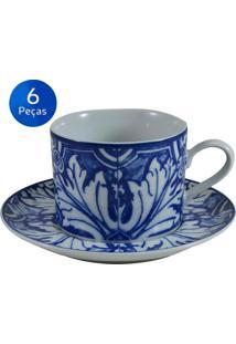 Conjunto 6 Xícaras De Chá Com Pires Azulejo - Schmidt - Branco / Azul