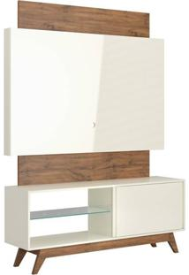 Rack Com Painel Munique 1,40 Mt Cor Off White Com Nobre - 51613 - Sun House