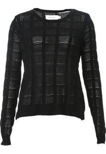 Blusa Calvin Klein Tricot Metalizado Preta