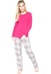 Pijama Cor Com Amor Xadrez Rosa/Cinza