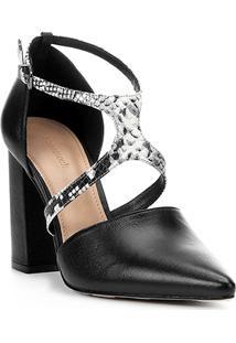 Scarpin Couro Shoestock Linear Snake - Feminino-Preto