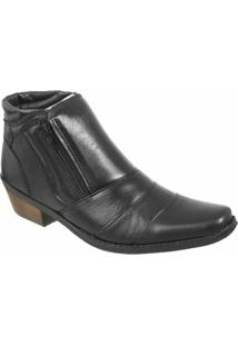 Bota Country Casa Do Sapato Lisa - Masculino-Preto