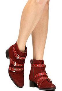 Bota Couro Cano Curto Shoestock Ilhós Feminina - Feminino-Vermelho