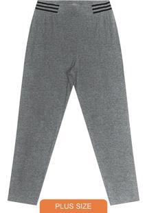 Calça Plus Size De Molecotton Cinza