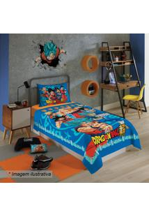 Jogo De Cama Dragon Ballâ® Solteiro- Azul & Laranja- Lepper