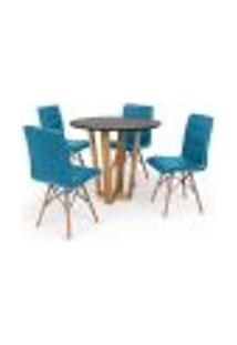 Conjunto Mesa De Jantar Lara 90Cm Preta Com 4 Cadeiras Eiffel Gomos - Turquesa