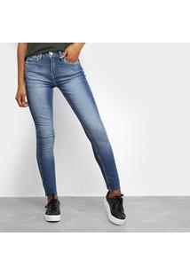 Calça Jeans Skinny Calvin Klein Six Pckts Logo Bordada Feminina - Feminino-Marinho