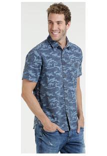 Camisa Masculina Jeans Camuflada Manga Curta Marisa
