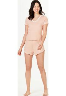 Pijama Feminino Curto Decote Em V Com Renda