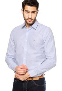 Camisa Manga Longa Lacoste Slim Fit Listrada Azul/Rosa/Branca
