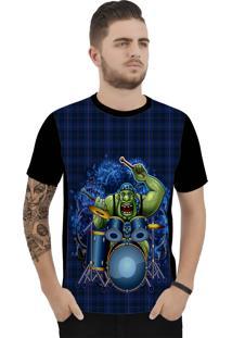 Camiseta Ramavi Xadrez Ogro Curta Preto
