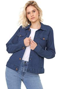 Jaqueta Sisal Jeans Com Botãµes Blue - Azul - Feminino - Dafiti