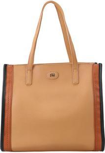 Bolsa Com Recortes- Marrom Claro & Preta- 30X34,5X14Ana Hickmann