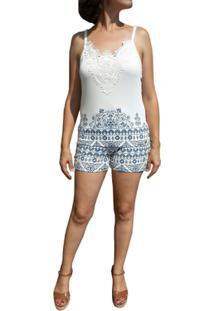 Pijama Curto Inspirate Azulejo Português Feminino - Feminino-Branco+Azul