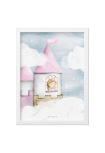Quadro Amiguinha Princesa Na Torre 25Cm Gráo De Gente Rosa