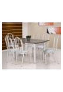 Conjunto De Mesa Luana Com 6 Cadeiras Branca Linho