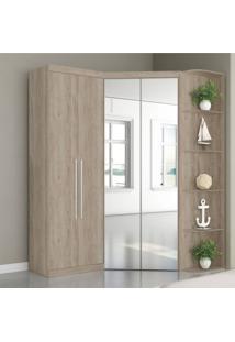 Guarda Roupa Casal Com Espelho 4 Portas Prateleiras Laterais Inglaterra Siena Móveis Cedro