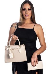 Bolsa Kit 2 Peças Feminina Metalasse Creme