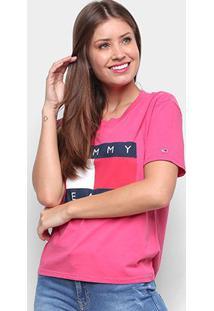 Camiseta Tommy Jeans Tommy Flag Tee Feminina - Feminino-Vermelho