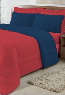 Edredom Solteiro Casa Modelo Dupla Face Malha 100% Algodão 1 Peça - Vermelho/Azul