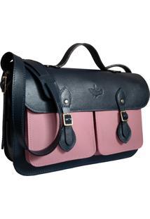 Bolsa Line Store Leather Satchel Pockets Média Couro Bicolor Marinho X Rosa