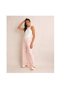 Calça De Pijama Estampada Animal Print Zebra Com Cordão Rosa Claro