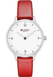 Relógio Curren Analógico C9039L Feminino - Feminino-Prata+Vermelho