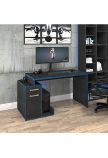 Mesa Computador Gamer Trevalla Shark Com 1 Porta Preto Onix/Azul