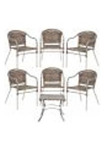 Jogo Cadeiras 6Un E Mesa De Centro Floripa Para Edicula Jardim Area Varanda Descanso - Argila