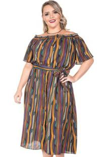 Vestido Assis Marrom Plus Size