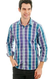 Camisa Animalia Listrada Roxo/Azul