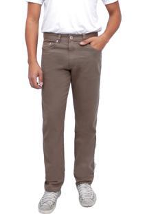 Calça Young Style Jeans Sarja Tradicional Caqui