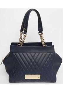 Bolsa Retangular Em Couro - Azul Marinho - 25X39X9Cmjorge Bischoff