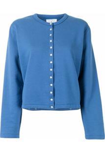 Agnès B. Snap-Button Front Cotton Cardigan - Azul