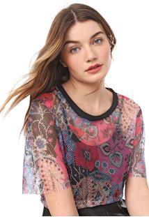 Camiseta Carmim Print Rosa/Preta