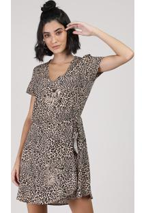 Vestido Feminino Curto Estampado Animal Print Onça Manga Curta Bege