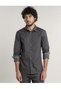 Camisa Masculina Slim Fit Estampada Geométrica Manga Longa Chumbo