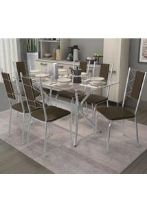 Conjunto De Mesa E 6 Cadeiras Cmc316Cr-21 - Kappesberg - Cromado / Marrom