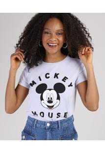 Blusa Feminina Mickey Mouse Manga Curta Decote Redondo Lilás
