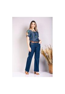 Blusa Bogge Jeans Com Manga Curta Plus Size Azul Marinho