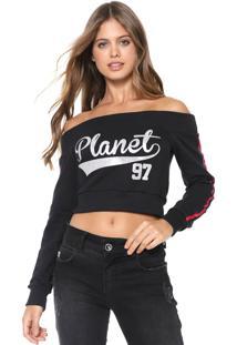 Blusa Cropped Planet Girls Ombro A Ombro Preta