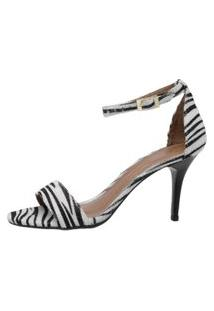 Sandalia Factor Fashion Salto Medio Gabi - Zebra