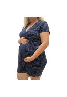 Pijama Plus Size Linda Gestante Short Doll Maternidade Manga Curta
