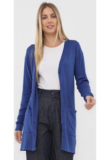 Cardigan Malwee Tricot Liso Azul-Marinho